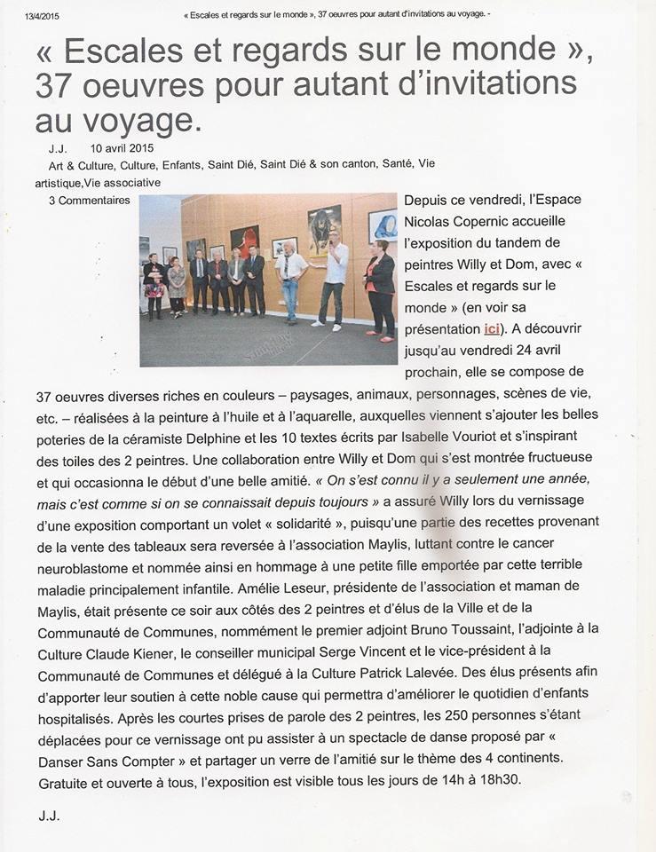 Exposition Escales et regards sur le monde du 10 avril 2015 au 24 avril 2015 à Saint-Dié des Vosges
