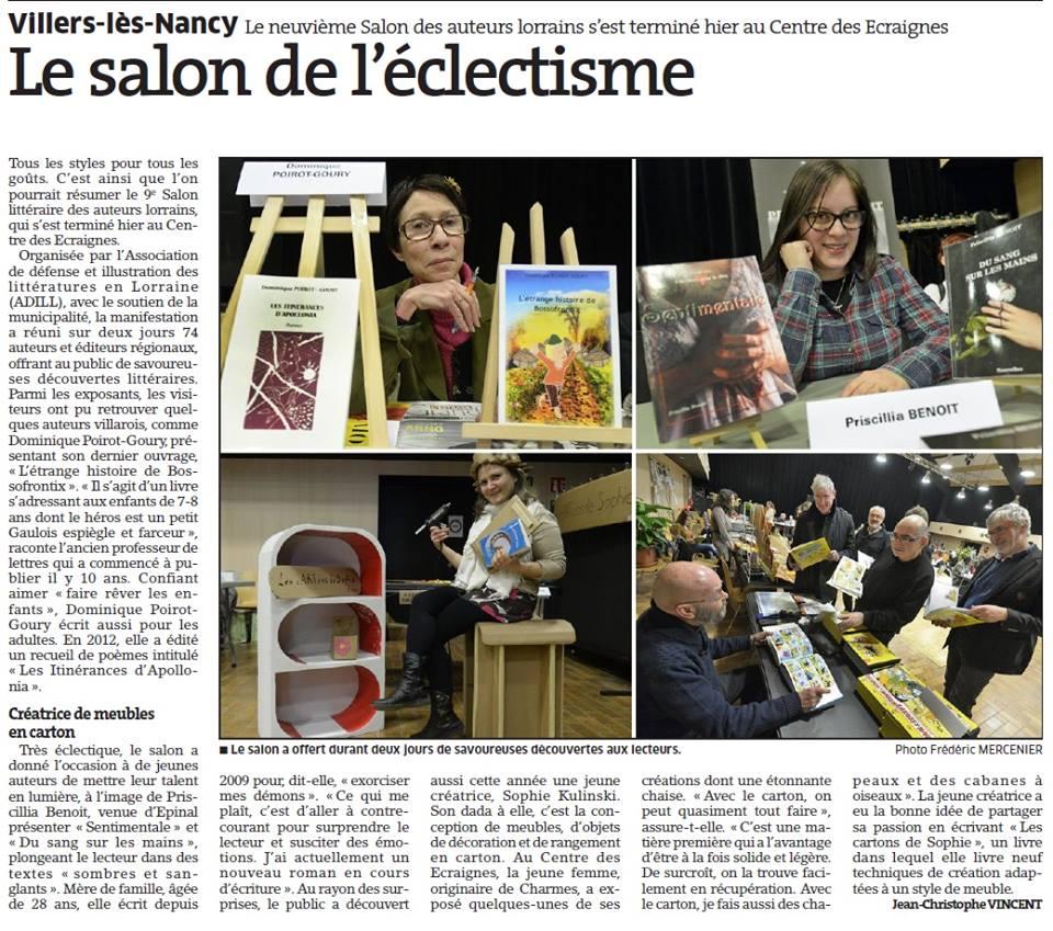 Villers les Nancy 9e salon littéraire des auteurs Lorrains les 27 et 28 février 2016