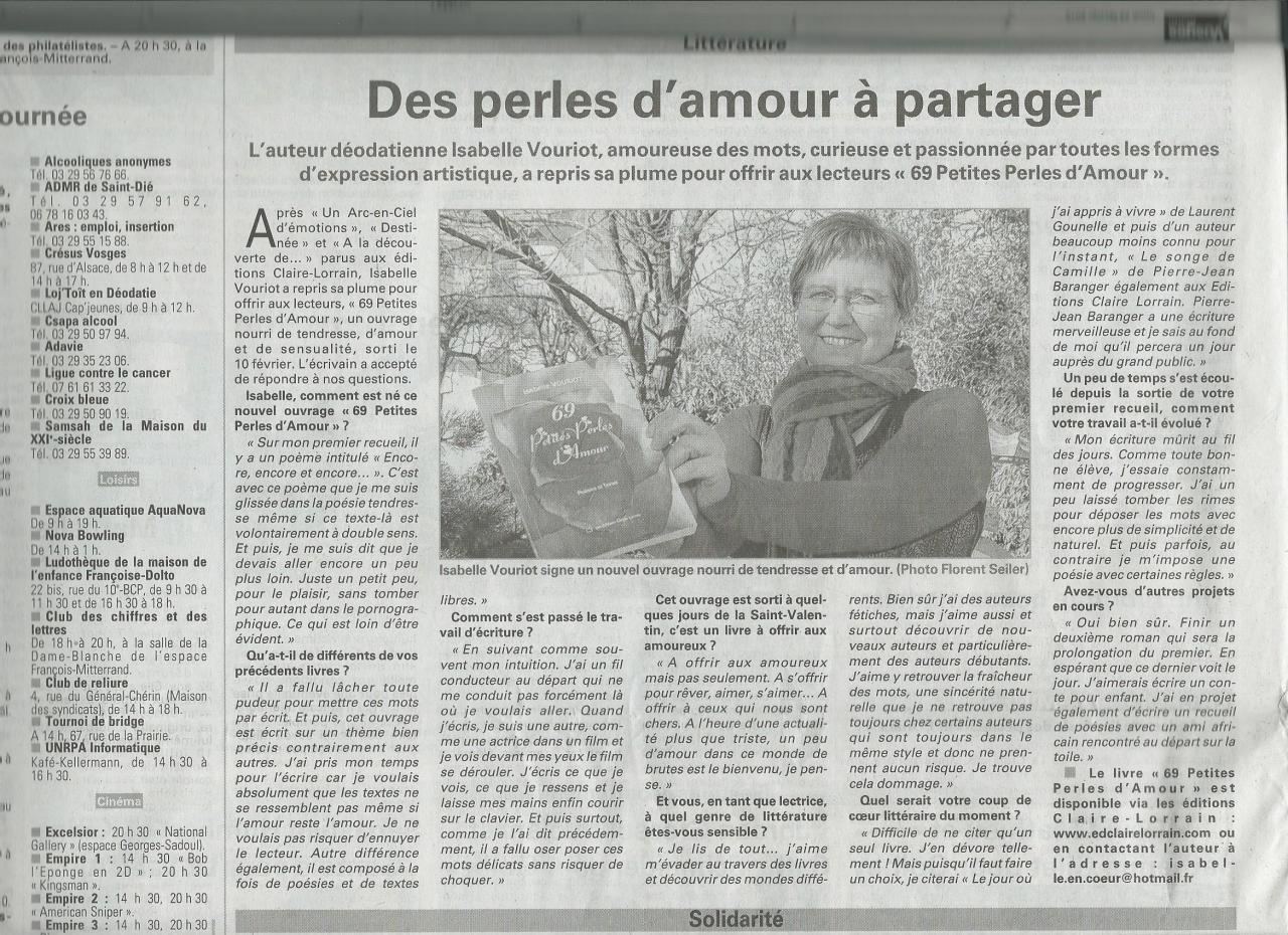 23 février 2015 Vosges Matin 69 Perles