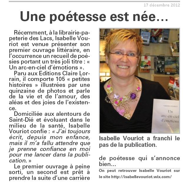 Dédicace Gérardmer le 17 décembre 2012
