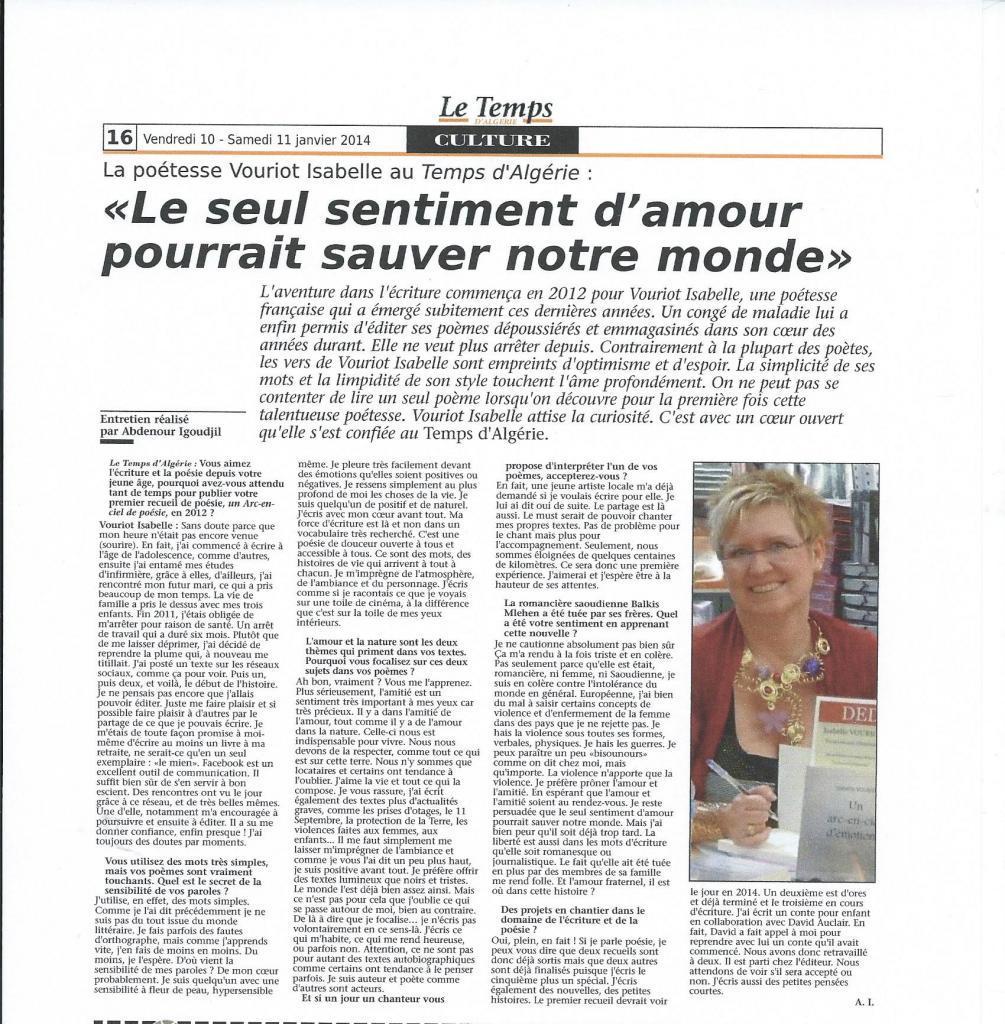 Le temps d'Algérie du 11 janvier 2014 page 16